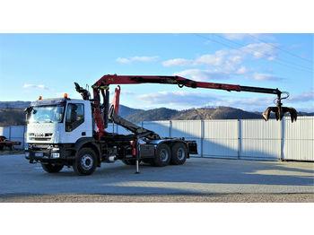 Camion ampliroll Iveco  TRAKKER  410 Abrollkipper+Kran 6x4