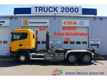 Camion ampliroll Scania 124G470 6x4 Multilift Knick- Schub Haken 25 to.