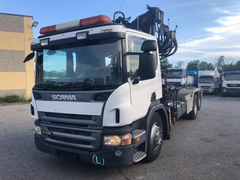 Camion ampliroll Scania P420 6x2 Abroller mit Kran, Halbautomatic ,Retarder,Euro3,Liftachse