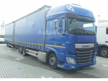 Camion bâche DAF XF 460 SSC FAN Low-Deck,mit Anhänger,2x LBW 1.5t
