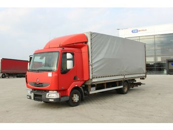Camion bâche Renault MIDLUM 180DCI,HYDRAULIC LIFT