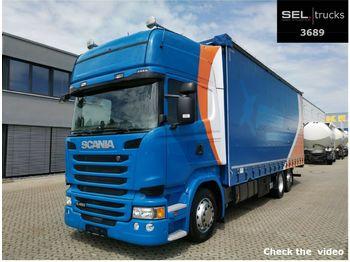 Camion bâche Scania R 450/Retarder/Standklima/Hubdach/Staplerhalter.