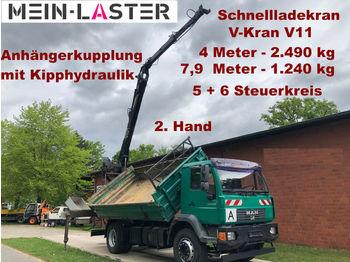Camion benne MAN 18.280   V-Kran 7,9m-1.240 kg 5+6 Steuerkreis