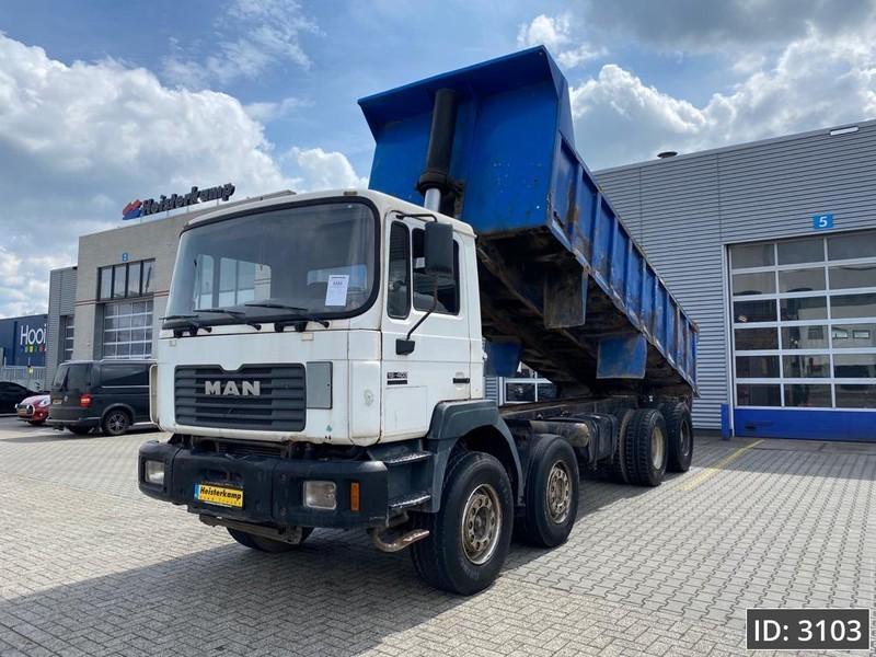 camion benne MAN 35.403 Day Cab, Euro 1, Full steel - Big Axle - Mech pump - 6 cyl.