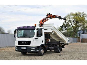 Camion benne MAN TGL 12.220 Kipper 4,10m+TEREX 75.2-A2 !