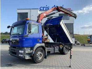Camion benne MAN TGM 18.290 4x2 Fassi 130 | Meiller 3-Seitenkippe