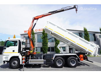 Camion benne MAN TGS 26.360 , E5 , 6X4 ,3 way tipper , bordmatic , Crane Fassi F1