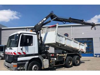 Mercedes-Benz Actros Manual 6x4 Hiab 145-2 crane RC + Full Steel  - camion benne