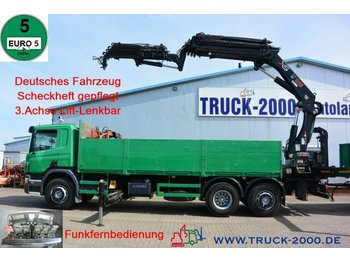 Camion plateau Scania P 380 Hiab 377-E6+JIB 70X-4 Höhe 28.5m TüV 02/22