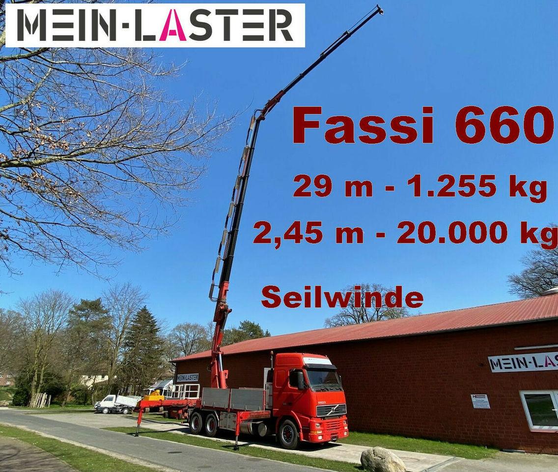 camion plateau Volvo FH16 Fassi 660 JIB 29 m 1.250 kg Seilwinde Funk