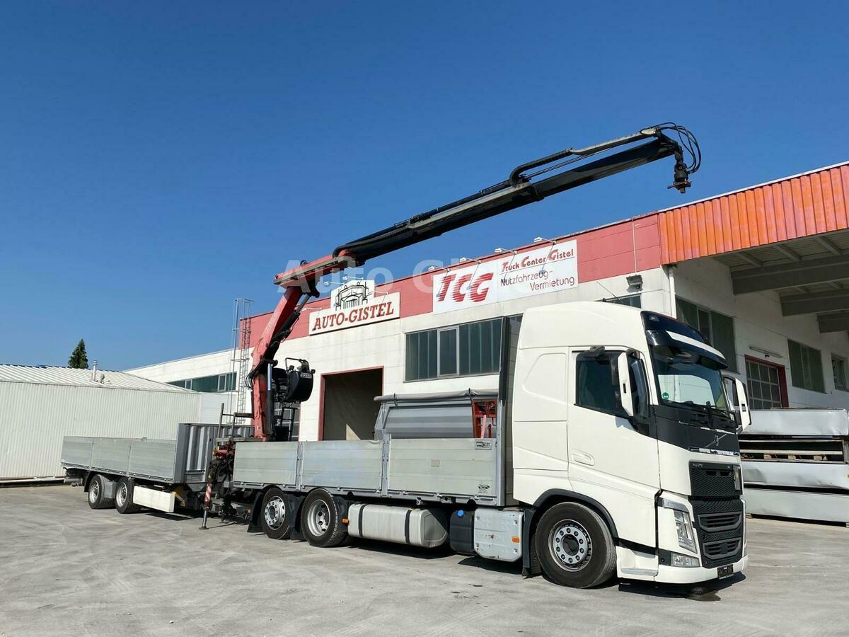 camion plateau Volvo FH 460 6x2 Fassi 215A.23 + Zange Krone Anhänger