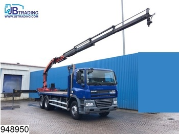 DAF 85 CF 410 6x4, Palfinger crane, Remote, Steel suspension, Manual, EURO 5 - camion plateau ridelle