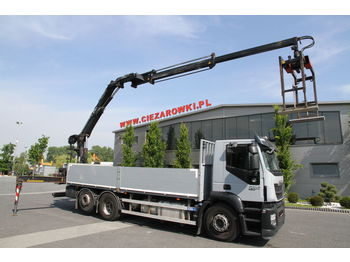 IVECO 6x2 STRALIS 420 EEV CRANE HIAB 166 K PRO 10.9 M STEERING AXLE PE - camion plateau ridelle
