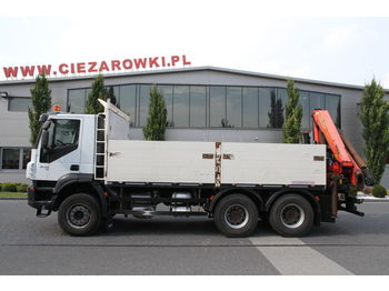 IVECO 6x4 TRAKKER PALFINGER PK 18002 EH 16 M WITH ROTATOR - camion plateau ridelle