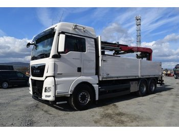 Camion plateau ridelle MAN 26.480 XLX / 6x4 / Fassi F 195 AS / EURO 6