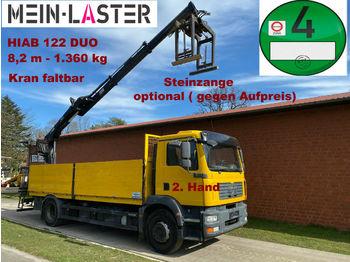 Camion plateau ridelle MAN TGM 18.280 HIAB 122 Duo 8,2 m-1.4T Pritsche 6,1m