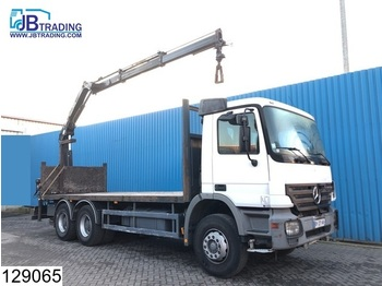 Camion plateau ridelle Mercedes-Benz Actros 2632 6x4, EPS 16, 3 pedals, Hiab crane, Remote, Steel suspension, Pallet hook, Rotator, Airco