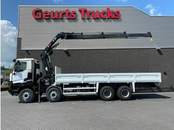 Renault K 460 8X4 OPEN BOX + HIAB 288 EP-3 HIDUO KRAAN/K  - camion plateau ridelle