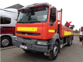 Camion plateau ridelle Renault Kerax 320 DCI chassis 6x4 NO crane
