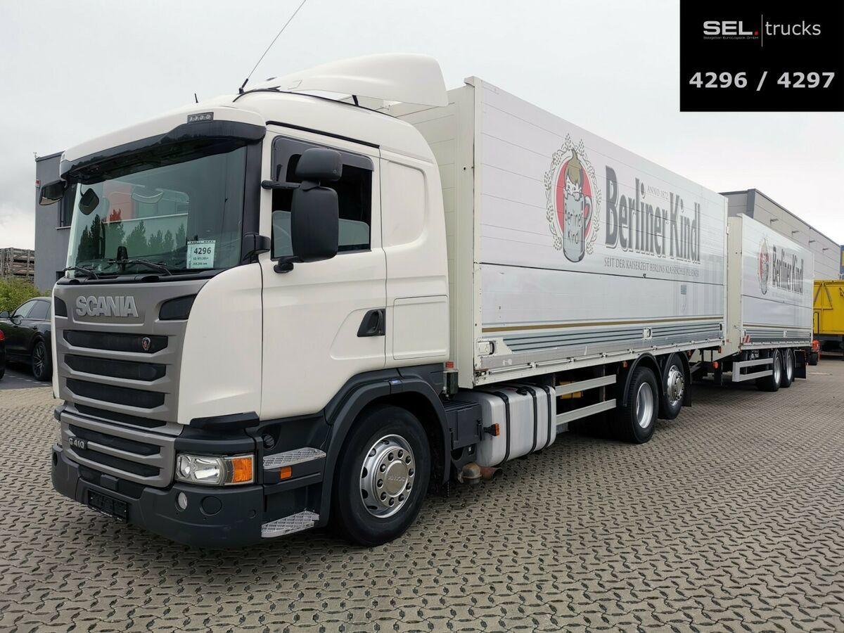 camion pour le transport de boissons Scania G 410 / Retarder / Lift-Lenkachse / with trailer