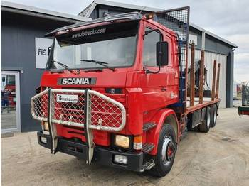 Scania R 142H 420 6x4 forest truck + crane - camion grumier